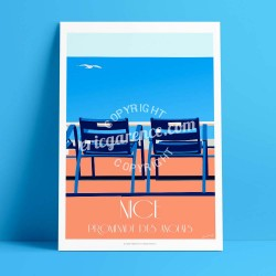 Nice - Les Chaises Bleues  - Affiche Rétro Ancienne - Art Galerie - couleurs , Galerie d'Art Bonjour l'affiche, France, Provence