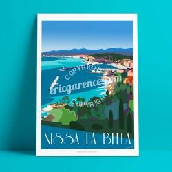 Nice - Le Quartier du Port et Rauba Capeu  - Affiche Rétro Ancienne - Art Galerie - couleurs , Galerie d'Art Bonjour l'affiche,