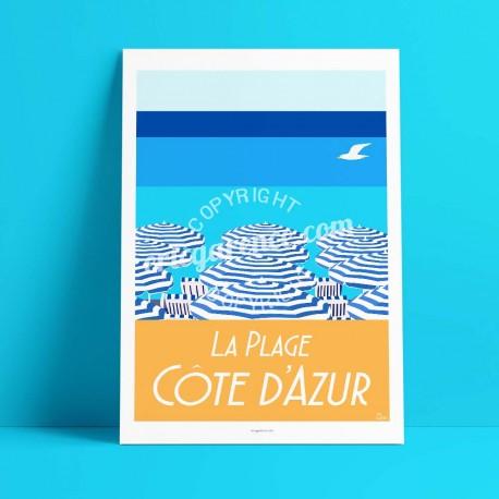 La Plage, les parasols et la mer, Côte d'Azur, 2017  - Affiche Rétro Ancienne - Art Galerie - couleurs   Bonjour l'affiche, Fran