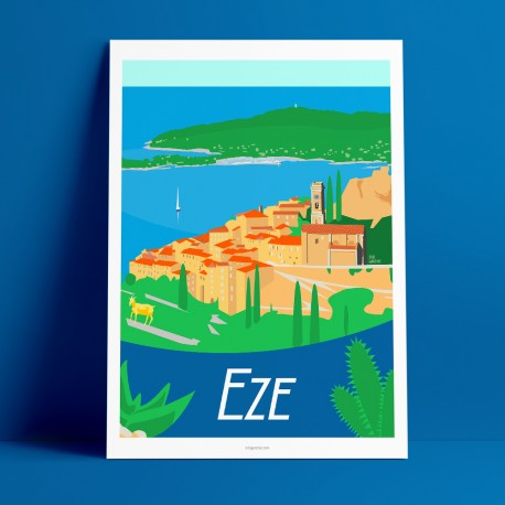 Poster Eze by Eric Garence, French Riviera french made in France deco frenchie collection Goat gold village medieval fragonard l