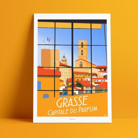 Poster Grasse, capitale du parfum by Eric Garence, French Riviera painter savignac roger broders advertising ad Unesco fragonard