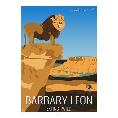 BARBARY LEON - Wild Animal - Educational Board - Poster Retro Vintage - Art Gallery - Deco