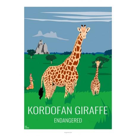 KORDOFAN GIRAFFE - Wild Animal - Educational Board - Poster Retro Vintage - Art Gallery - Deco