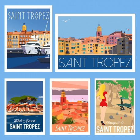Package - SAINT TROPEZ PARTY !  - Art Gallery - Deco - Poster Retro Vintage - Art Gallery - Deco