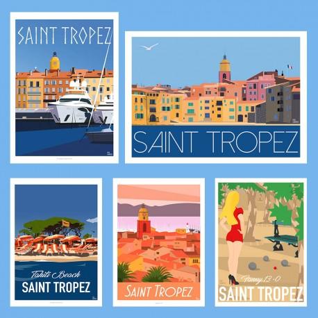 Package - SAINT TROPEZ PARTY !  - Affiche Rétro Ancienne - Art Galerie - déco   Bonjour l'affiche, France, Provence,  achat, tab