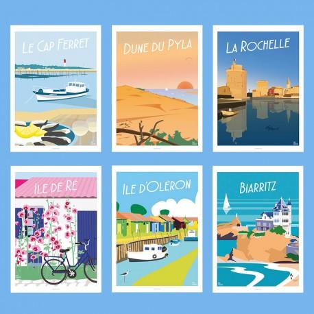 ART PACK - Côte Atlantique & Chic !  - Affiche Rétro Ancienne - Art Galerie - déco   Bonjour l'affiche, France, Provence,  achat