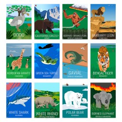 ANIMALS - Eric Garence, Dodo, Rhino, Tiger, Grizzly, Shark, Lion, Orangutan, Turtle, Polar Bear, Grizzly, Gavial, Girafe, WWF