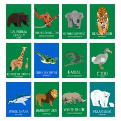 ANIMALS - Eric Garence, Dodo, Rhino, Tiger, Grizzly, Shark, Lion, Orangutan, Turtle, Polar Bear, Grizzly, Gavial, Girafe, WILD