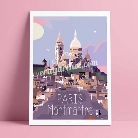 Affiche Montmartre  par Eric Garence, Paris Ile de France 18eme 75018 rétro vintage illustration dessin niçois romantique basili