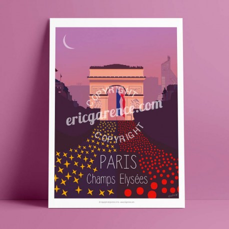 Poster Champs Elysées by Eric Garence, Paris Ile de France 8eme 75008 travel memories holydays Pinup jet set Vuitton Avenue Lanc