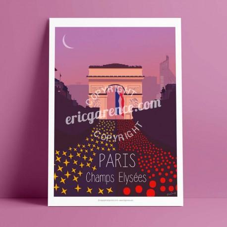 Affiche Champs Elysées par Eric Garence, Paris Ile de France 8eme 75008 rétro vintage illustration dessin niçois avenue vuitton