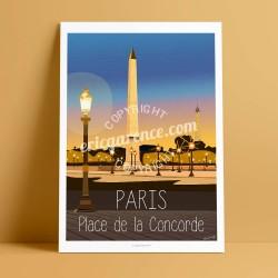 Affiche Place de la concorde par Eric Garence, Paris Ile de France 8eme 75008 rétro vintage illustration dessin niçois obélisque
