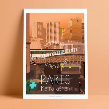 Poster Métro parisien by Eric Garence, Paris Ile de France 15eme 75015 poster vintage illustration drawing french dupleix line 6
