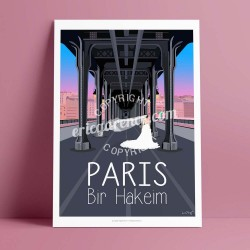 Poster Pont de Birhakeim  by Eric Garence, Paris Ile de France 16eme 75016 art gallery artist contemporary collection Wedding ve