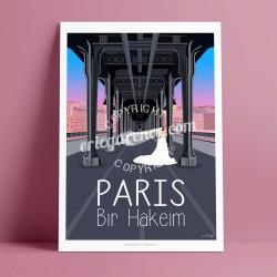 Affiche Pont de Birhakeim  par Eric Garence, Paris Ile de France 16eme 75016 art galerie artiste contemporain art-déco Mariage v