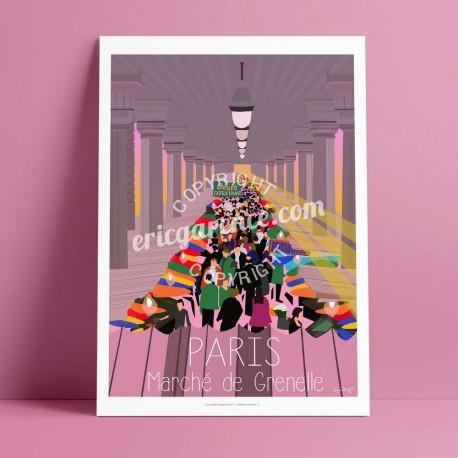 Affiche Marché de Grenelle par Eric Garence, Paris Ile de France 15eme 75015 rétro vintage illustration dessin niçois primeur ma