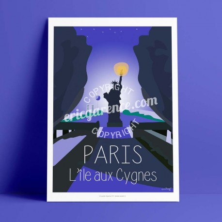Poster Ile aux cygnes, seine by Eric Garence, Paris Ile de France 15eme 75015 travel memories holydays Pinup jet set statue of l