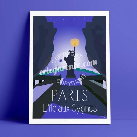 Affiche Ile aux cygnes, seine par Eric Garence, Paris Ile de France 15eme 75015 affichiste savignac roger broders publicité pub