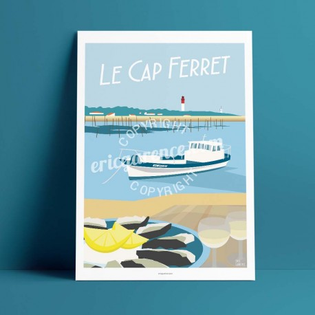 Poster Lège Cap Ferret by Eric Garence, Gironde, Atlantic Coast France travel memories holydays Pinup jet set Arcachon Seafood f