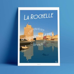 Poster Le Port de la Rochelle by Eric Garence, Charente Maritime, Atlantic Coast France painter savignac roger broders advertisi