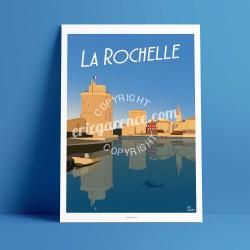 Affiche Le Port de la Rochelle par Eric Garence, Charente Maritime, côte atlantique  France affichiste savignac roger broders pu