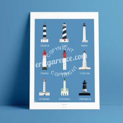 Cap Ferret - Famous LightHouses  - Poster Art Gallery Artwork, - Colorful
