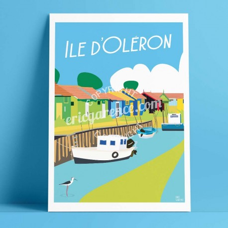 Affiche Les cabanes de l'île d'Oléron par Eric Garence, Charente Maritime, côte atlantique France voyage souvenir vacances Pinup