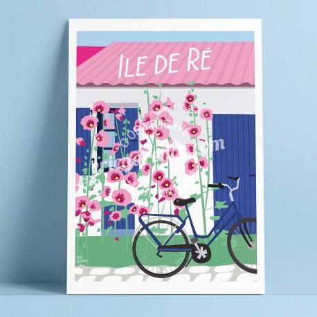 Affiche L'Île de Ré et son vélo par Eric Garence, Charente Maritime, côte atlantique France rétro vintage illustration dessin ni
