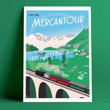 Affiche Le Mercantour par Eric Garence, Mercantour Alpes voyage souvenir vacances Pinup palace loup agneau chamois train des pig
