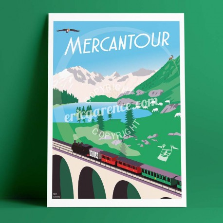 Poster Le Mercantour by Eric Garence, Alps Mercantour travel memories holydays Pinup jet set buff lamb wolf train pines rando