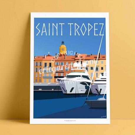 Affiche Luxe à Saint Tropez par Eric Garence, Provence Côte d'Azur Var luxe français made in France déco frenchie voilier yacht