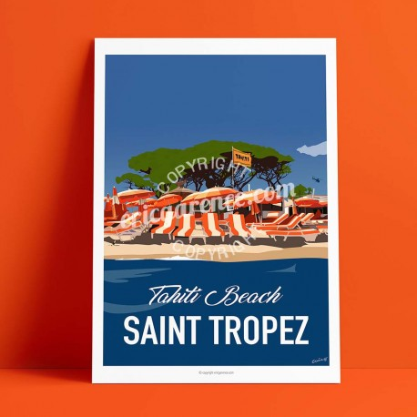 Poster Saint Tropez Fin de Soirée à Tahiti Plage by Eric Garence, Provence French Riviera var poster vintage illustration drawin