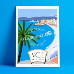 Affiche Casino Baie des Anges à Nice par Eric Garence, Côte d'Azur France art galerie artiste contemporain art-déco casino jetée