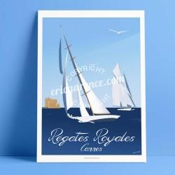 Affiche Cannes par Eric Garence, Côte d'Azur France rétro vintage illustration dessin niçois Panerai voilier vieux grément iles