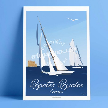 Poster Cannes by Eric Garence, French Riviera french made in France deco frenchie collection Panerai sailboat old grément iles d