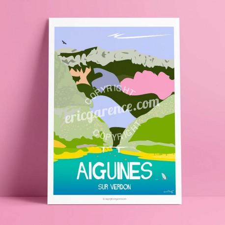 Affiche Gorges du Verdon par Eric Garence, Provence Sud Gorges du Verdon luxe français made in France déco frenchie pédalos camp