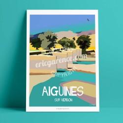 Affiche Vieux Pont de Sainte Croix par Eric Garence, Provence Sud Gorges du Verdon  rétro vintage illustration dessin niçois jeu