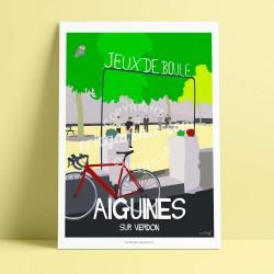 Affiche Le boulodrome, Aiguines par Eric Garence, Provence Sud Gorges du Verdon rétro vintage illustration dessin niçois cyclist