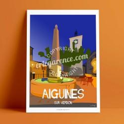 Affiche Place d'Aiguines par Eric Garence, Provence Sud Gorges du Verdon rétro vintage illustration dessin niçois fontaine café