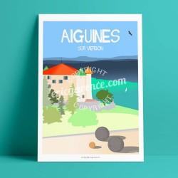 Affiche Château d'Aiguines par Eric Garence, Provence Sud Gorges du Verdon rétro vintage illustration dessin niçois Boules clout