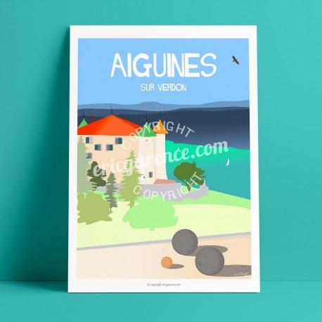 Poster Château d'Aiguines by Eric Garence, Provence South Gorges du Verdon painting decoration gift luxury idea Studded balls pe