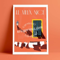 Affiche Le Vieux Nice et son linge propre par Eric Garence, Côte d'Azur France luxe français made in France déco frenchie noelle