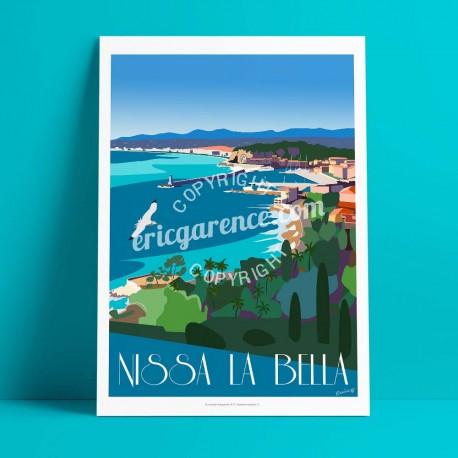 Affiche Nissa la Bella par Eric Garence, Côte d'Azur France rétro vintage illustration dessin niçois coco beach turquoise port r