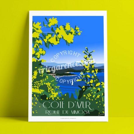 Affiche La Route du Mimosa par Eric Garence, Côte d'Azur France rétro vintage illustration dessin niçois Fleur Mimosalia grasse