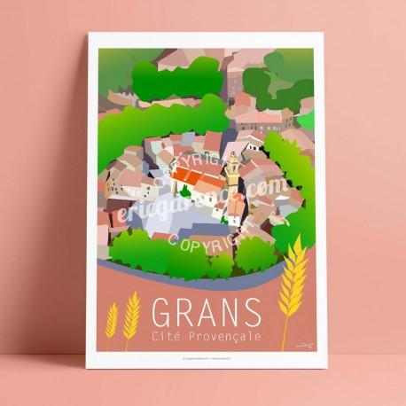 Affiche Grans par Eric Garence, Provence Sud Bouches du Rhône art galerie artiste contemporain art-déco blé village cité provenç