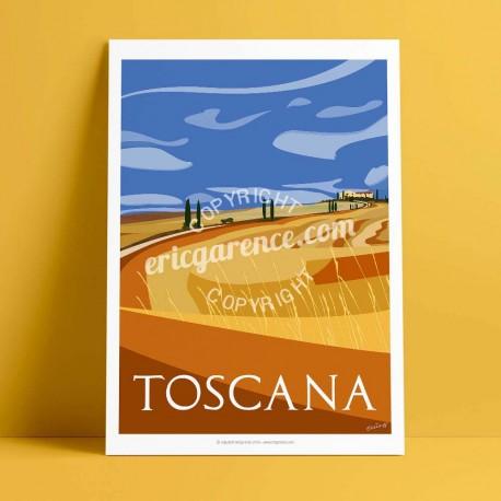 Affiche La Toscane en été par Eric Garence, Toscane Italie rétro vintage illustration dessin niçois gladiateur pienza val d'orci