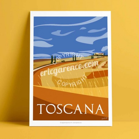Poster La Toscane en été by Eric Garence, Italia Toscana art gallery artist contemporary collection gladiator pienza val d'orcia