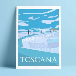 Affiche La Toscane en hiver par Eric Garence, Toscane Italie rétro vintage illustration dessin niçois gladiateur pienza val d'or