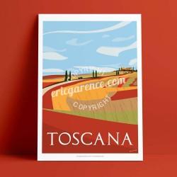 Affiche La Toscane en automne par Eric Garence, Toscane Italie luxe français made in France déco frenchie gladiateur pienza val