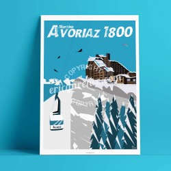 Poster Avoriaz 1800 by Eric Garence, Alps Haute Savoie poster vintage illustration drawing french Gondola lift Choucas Paraglidi